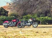 Indian Scout Sixty vs Triumph T100 gal