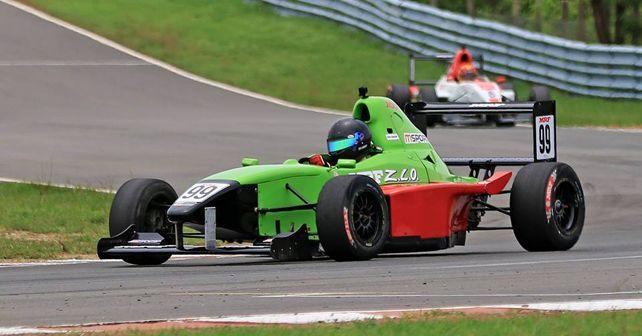Raghul Rangasamy (#99) in his MRF F1600 race car