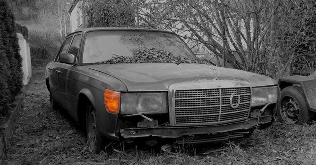Old Mercedes in a scrap yard