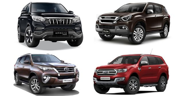 Mahindra Alturas Ford Endeavour Toyota Fortuner Isuzu Mu X