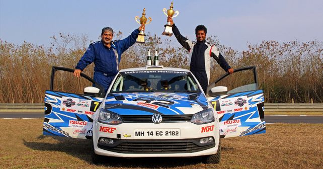 Vicky Chandhok And Chandramouli With Trophies After INRC 2018 Chennai