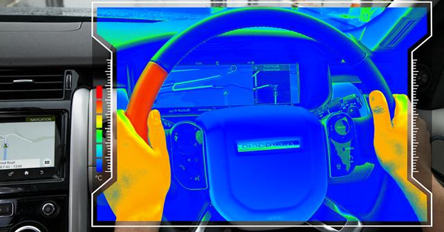 Sensory steering wheel on a Land Rover vehicle
