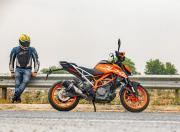 KTM 390 Duke side still rider