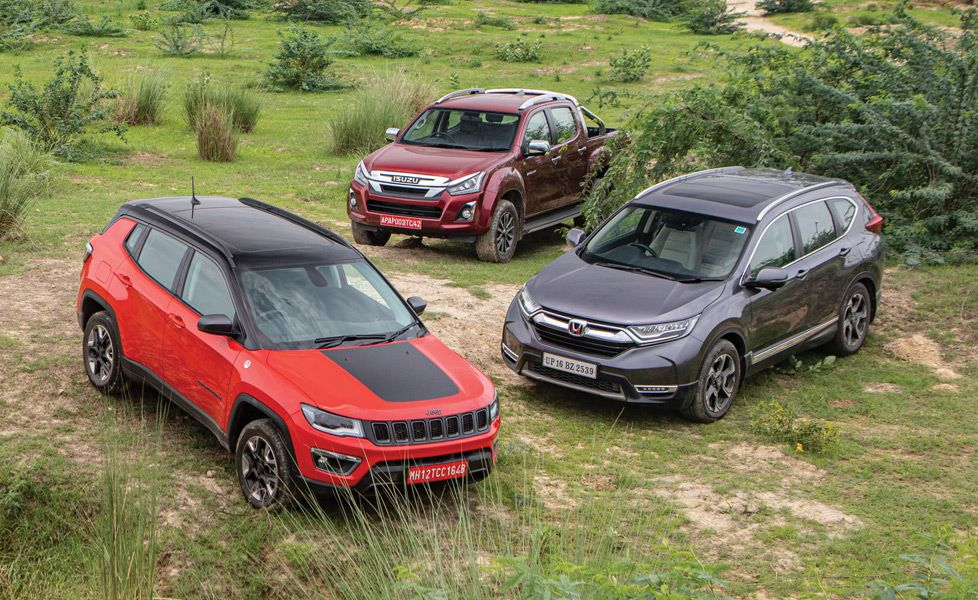 jeep compass trailhawk vs honda crv awd vs isuzu d max v cross