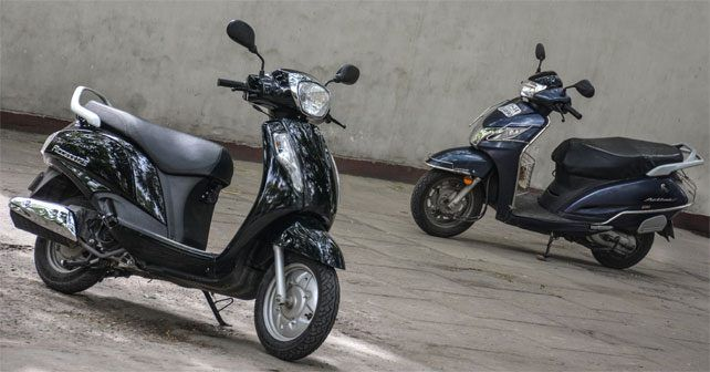 Suzuki Access Vs Honda Activa Front Three Quarter