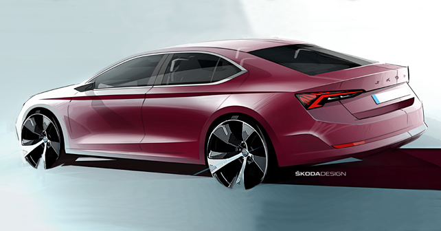 2020 Skoda Octavia Design Sketch Rear Quarter