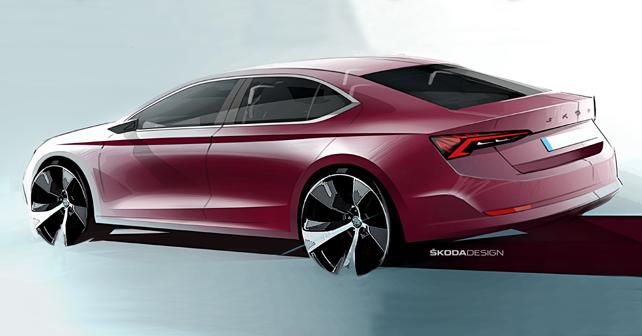 2020 Skoda Octavia Design Sketch Rear Quarter