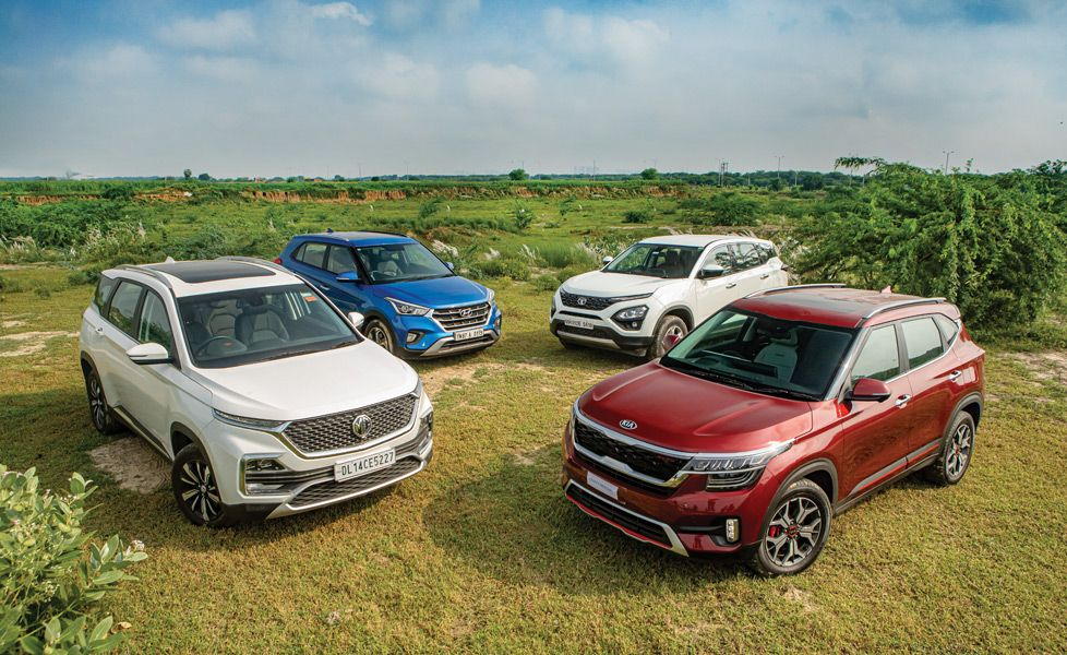 Kia Seltos vs MG Hector vs Hyundai Creta vs Tata Harrier