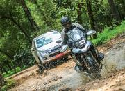 BMW R 1250 GS Pro and Isuzu D Max V Cross Riding in water