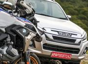 BMW R 1250 GS Pro and Isuzu D Max V Cross Side View Close up 2