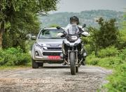 BMW R 1250 GS Pro and Isuzu D Max V Cross on road