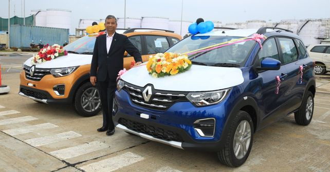 Venkatram Mamillapalle, Managing Director, Renault India Operations, with the Renault Triber