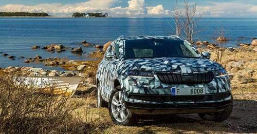 Skoda Karoq SUV Front Teaser Testing Image