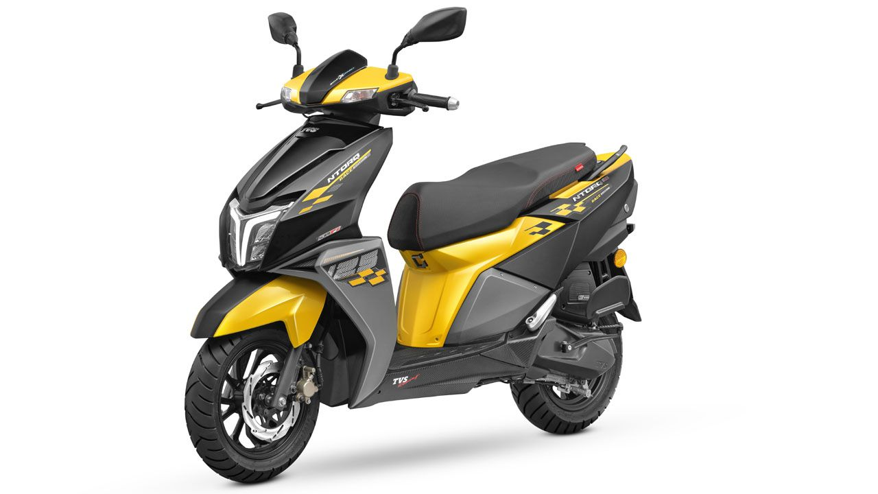 TVS NTORQ 125 Race Edition Yellow and Black Front Quarter