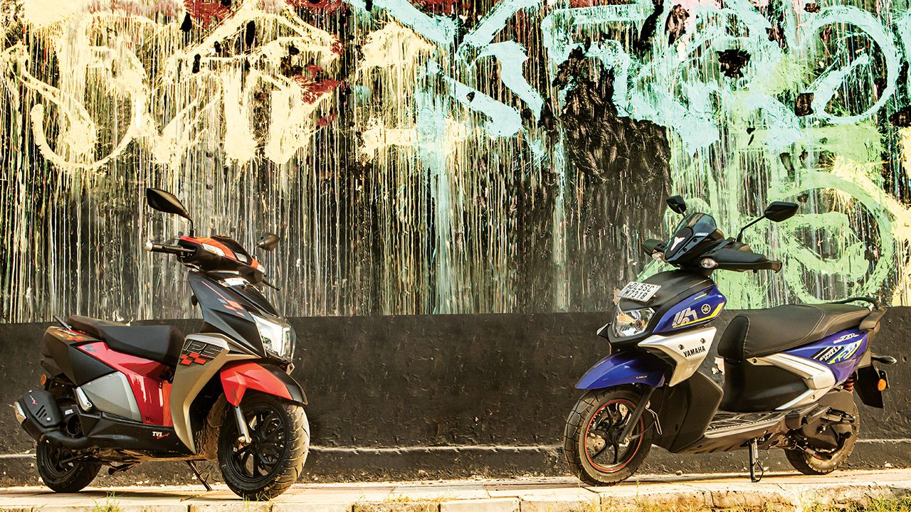 tvs ntorq race edition vs yamaha ray zr 125 street rally2