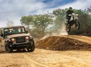 Mahindra Thar Petrol AT and Hero Xpulse 200 offroad jump