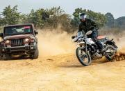Mahindra Thar Petrol AT and Hero Xpulse 200 offroad slide