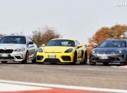 Porsche 718 Cayman GT4 vs Alpine A 110 S vs BMW M2 CS Track Motion Shot