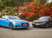 2021 Audi S5 and BMW M340i Front Static