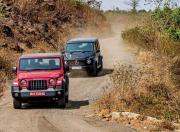 Mahindra Thar Mercedes Benz G 350d off road front motion