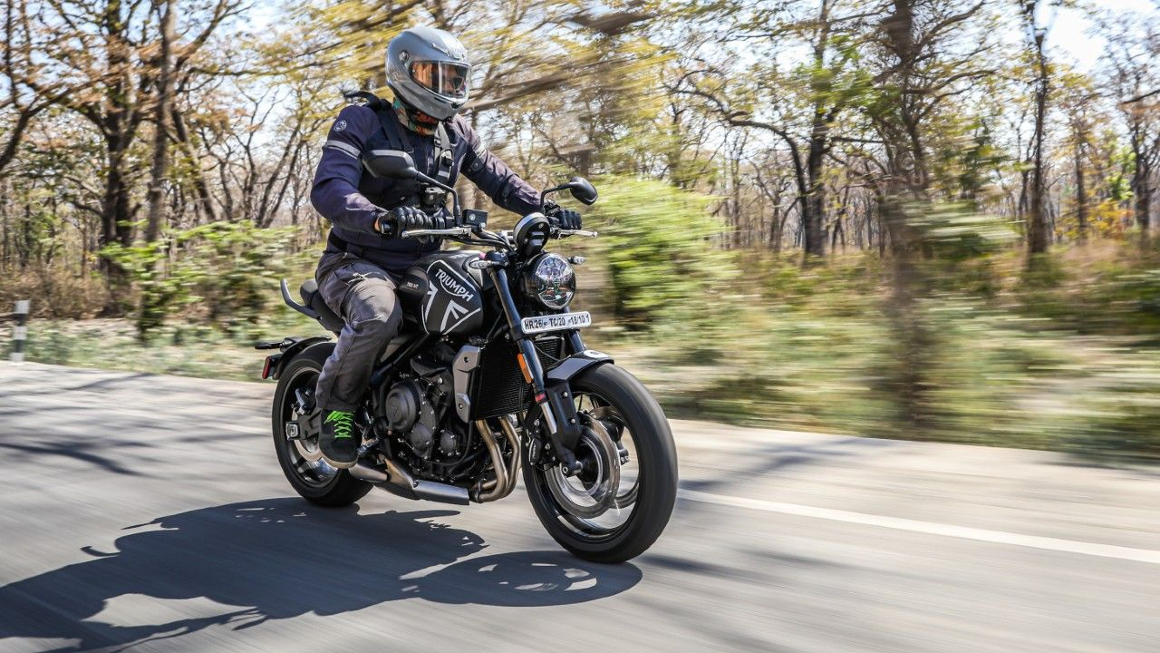 Triumph Trident 660 In Action Front Three Quarter