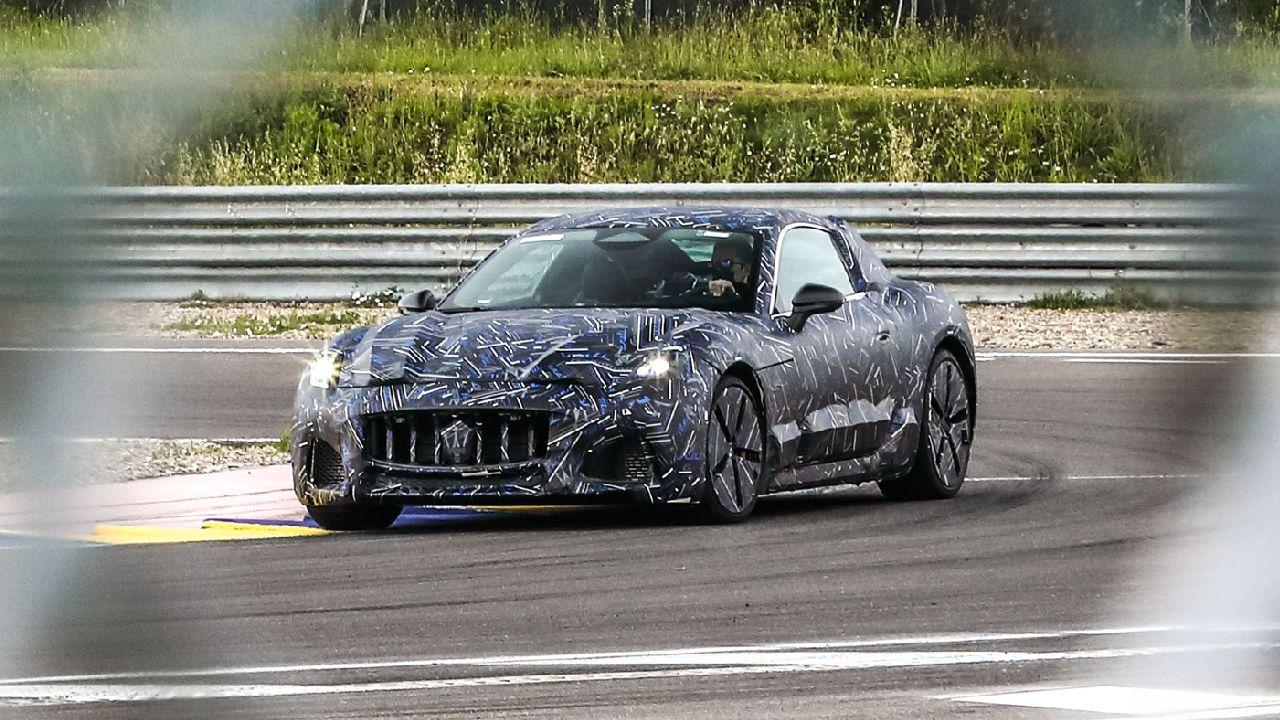 2022 Maserati GranTurismo EV Wrapped In Camo Front Three Quarter