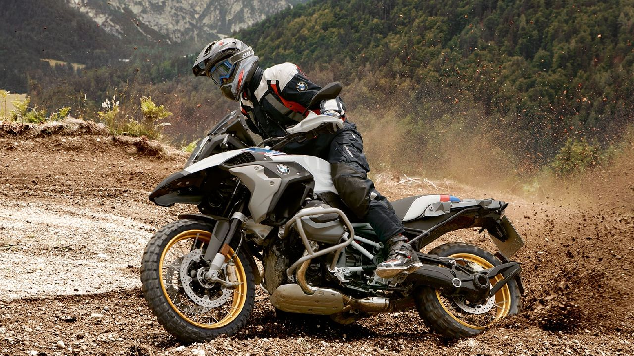 BMW R 1250 GS A Sliding In The Dirt Motion Shot