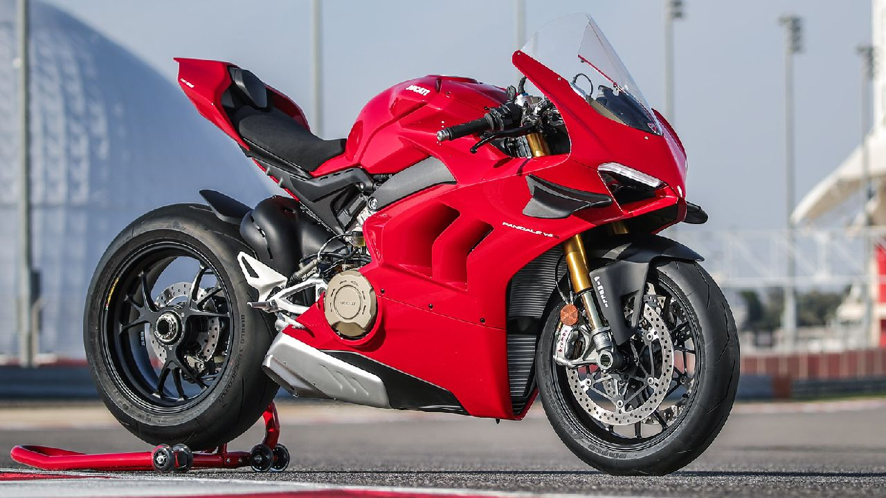 BS6 Ducati Panigale V4 Front Three Quarter On Paddock Stand