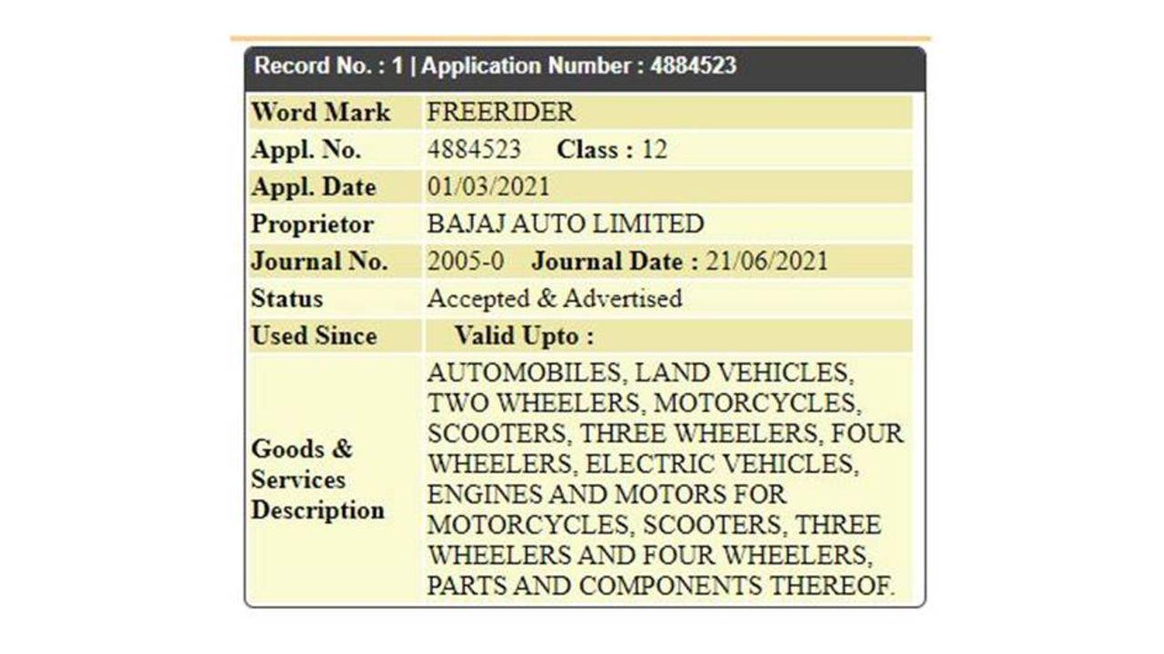 Bajaj Freerider Trade Mark Name