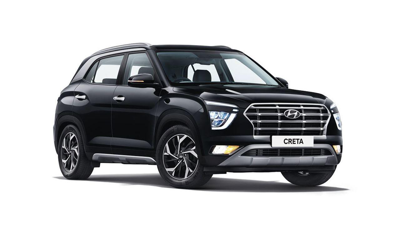 Hyundai Creta Black Front Three Quarter Static