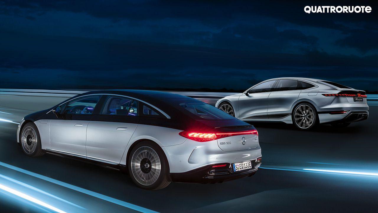Mercedes Benz EQS and Audi A6 e tron Concept