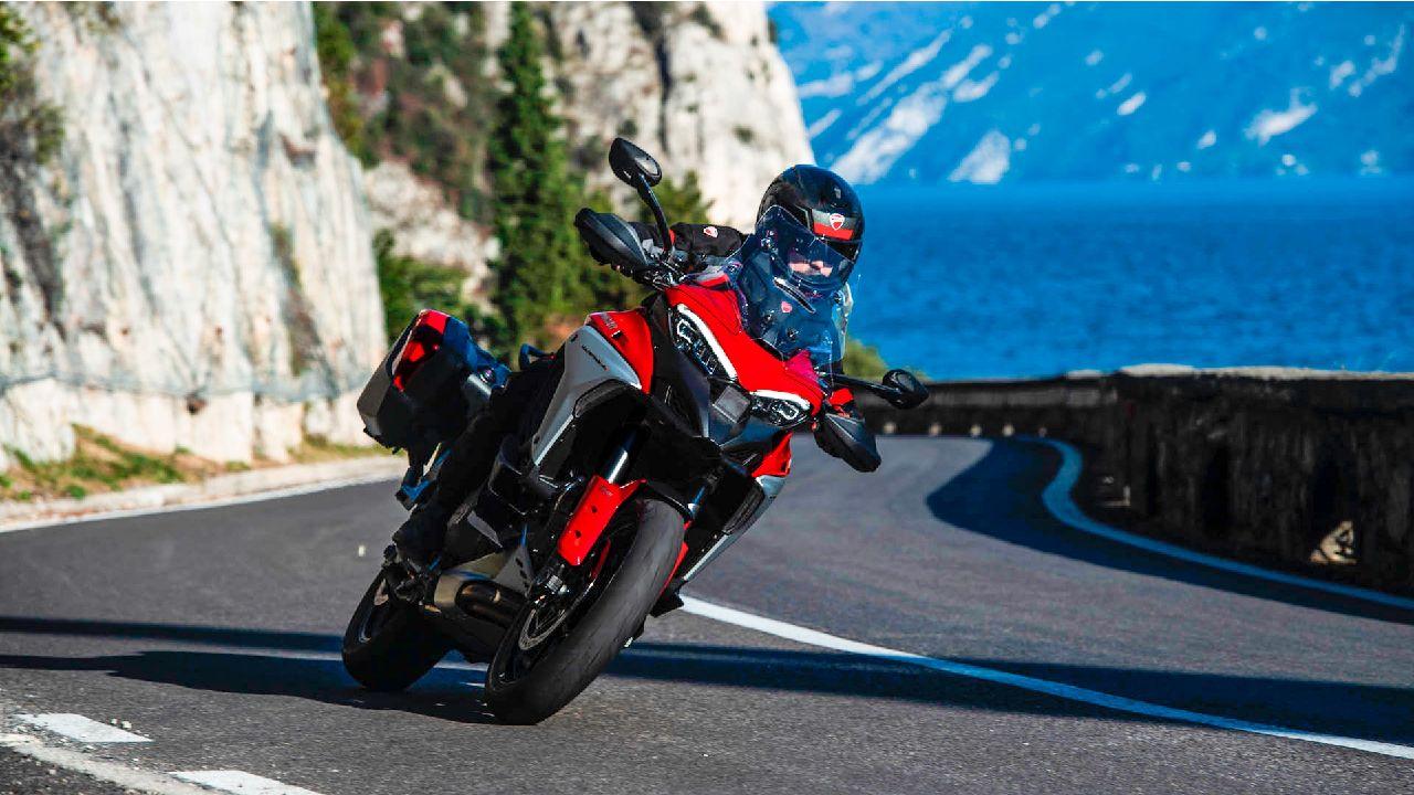 Ducati Multistrada V4 Cornering Motion Shot