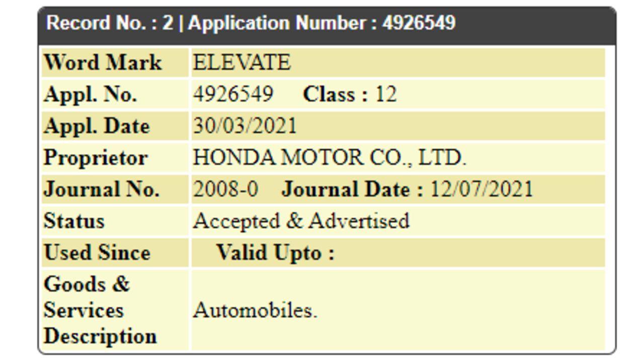 Honda Elevate Trademark Filed