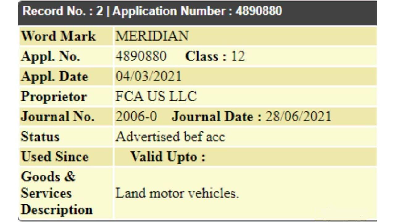 Jeep Meridian Copyright Trademark Certificate