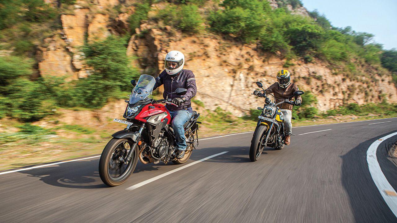 Scrambler Ducati and Honda CB500X Front Motion1
