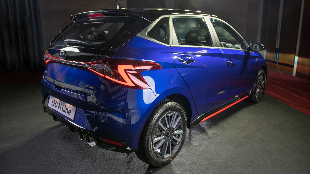 Hyundai I20 N Line Blue Rear Three Quarter Static