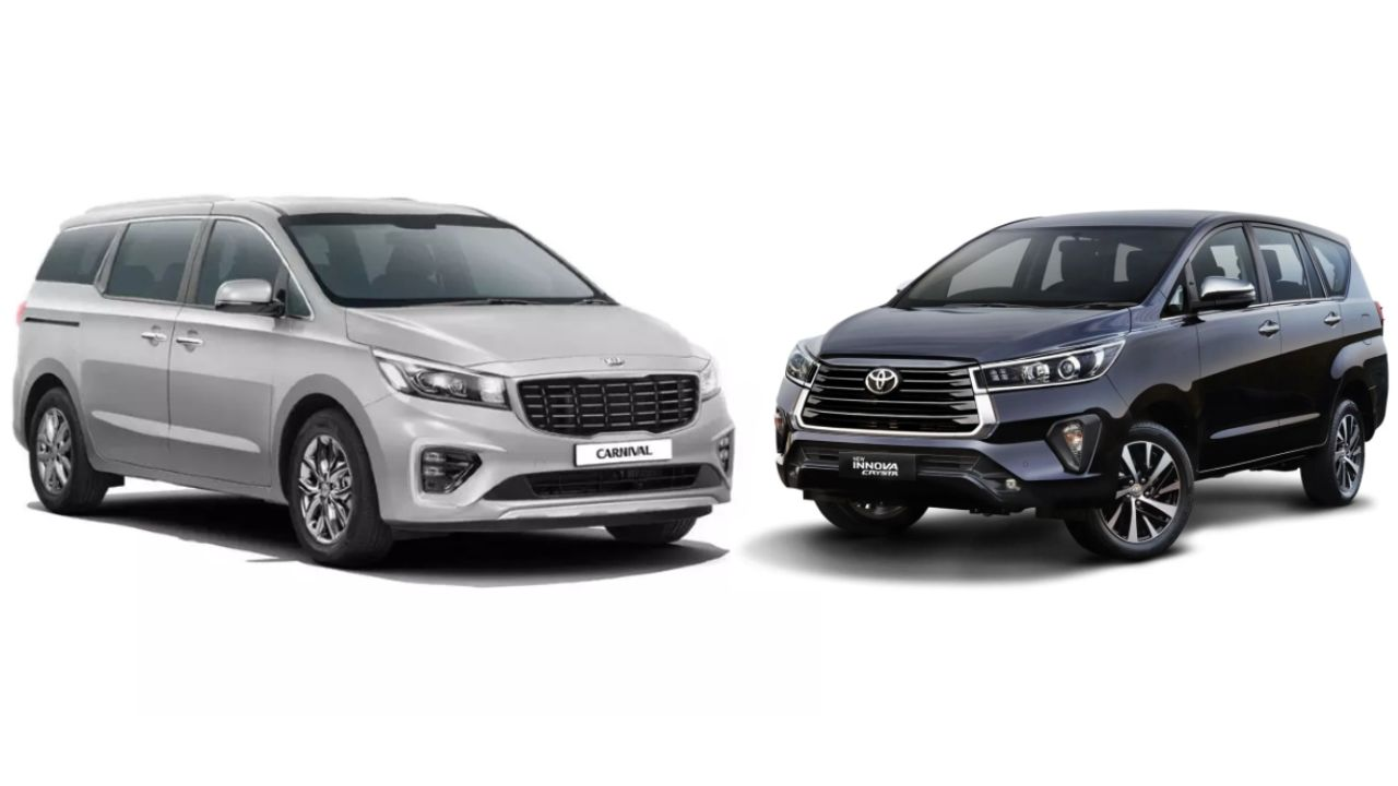 Kia Carnival And Toyota Innova Crysta Three Quarter