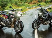 Triumph Street Triple R and BMW F 900 R Static Front Shot