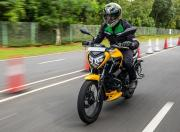 2021 tvs raider 125 first ride review front action m1