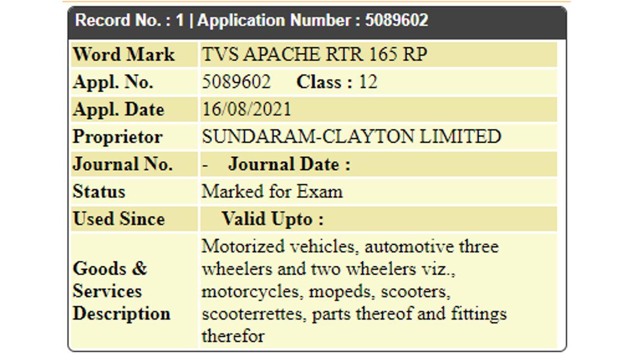 TVS Apache RTR 165 RP Trade Mark