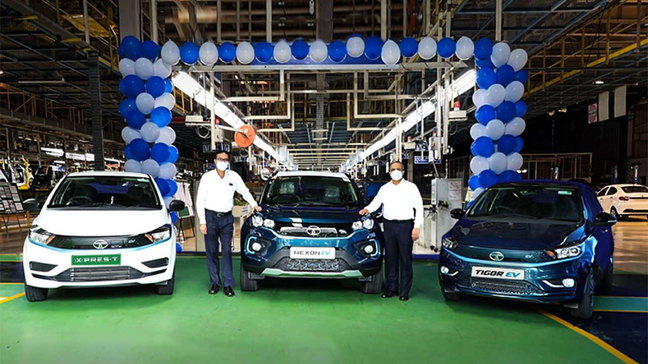 Tata Nexon EV Tigor EV And Xpres T Full Front Shot
